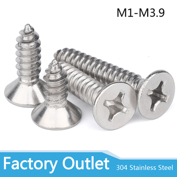 50pcs M1 M1.2 M1.4 M1.7 M2 M2.6 M3 M3.5 M4 Mini 304 stainless steel Cross Phillips Flat Countersunk Head Self-tapping Wood Screw