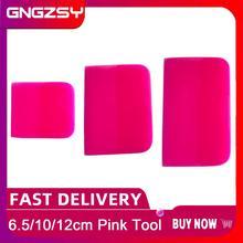 ใหม่สีชมพูไม้กวาดTPU PPF Oxford Scraperสำหรับรถยนต์เสื้อผ้าโปร่งใสไวนิลสีป้องกันฟิล์มเครื่องมือB77 B72