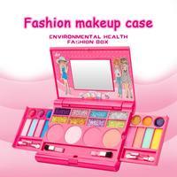 Принцесса девушки Косметика игровой набор палеток тщеславие с зеркалом моющийся и нетоксичный макияж набор для детей