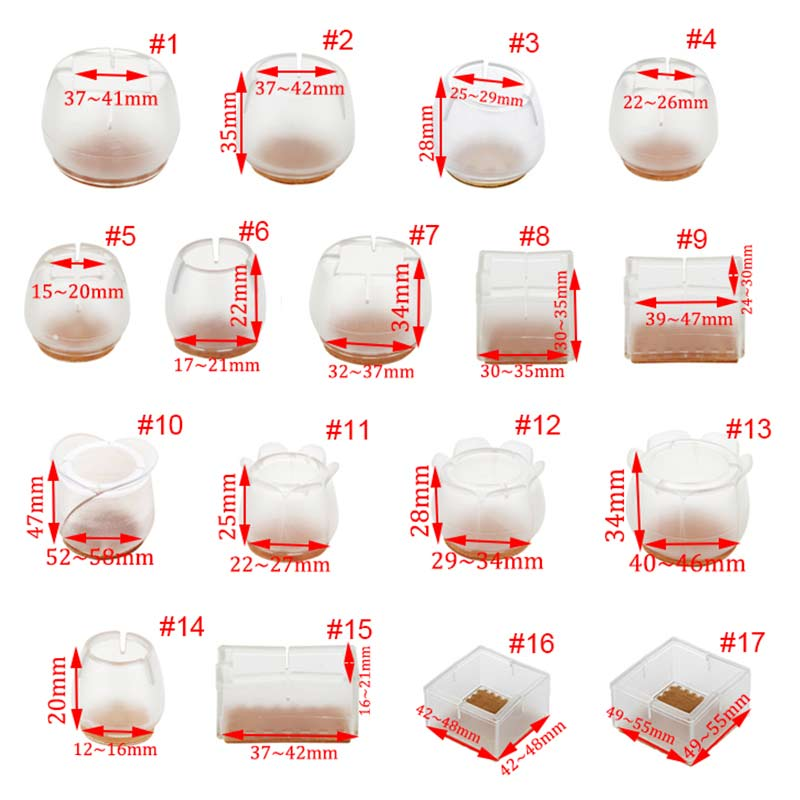 New Hot 10pcs Silicone Rectangle Square Round Chair Leg Caps Feet Pads Furniture Table Covers Wood Floor Protectors   SM