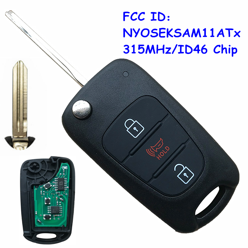 Replacement Flip 3 Button Remote <font><b>Key</b></font> Fob 315MHz ID46 Chip FCC: NYOSEKSAM11ATx for <font><b>Kia</b></font> <font><b>Sportage</b></font> 2010 <font><b>2011</b></font> 2012 2013 image