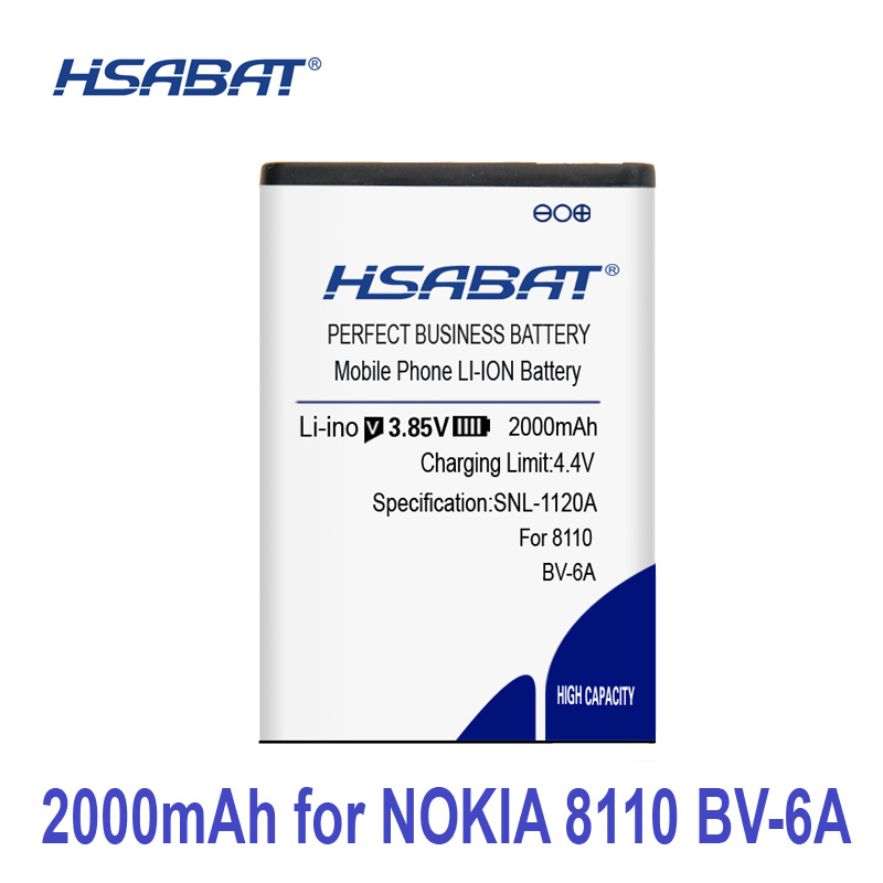 100% Original HSABAT 2000mAh BV-6A Battery For Nokia Banana 2060 3060 5250 C5-03 8110 4G