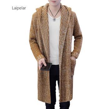 Spring Jersey Sweater Of Men 2020 Streetwear Mens Clothing Hooded Solid Knit Coat Jacket Cardigan Long Sleeve Outwear Blouse rebicoo sweater men jumper acrylic fashion solid long sleeve hooded pockets tops sweater blouse outwear mens sweaters