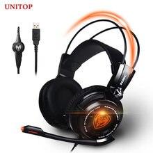 Unitop somic g941 cancelamento de ruído ativo 7.1 som surround virtual usb jogos headphoens música fone de ouvido com microfone para computador portátil