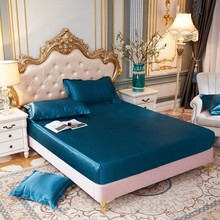 Fitted Sheet Solid Color Double Queen Size Mattress Cover Luxury Satin Silk Elastic Band Bed Sheet 180X200cm