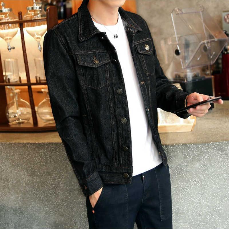 Heißer 2019 Mode Herren Denim Jacken Slim Fit Herren Jeans Jacke Baumwolle Outwear Mantel Langarm Loch Männlichen Kleidung Größe m-4XL