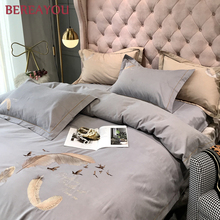 Luxury Bedding Sets Cotton Embroidery For Girls Boys Room Bed Set Queen King Size Gray Pink Blue Bed Linen Comforter cubrecama