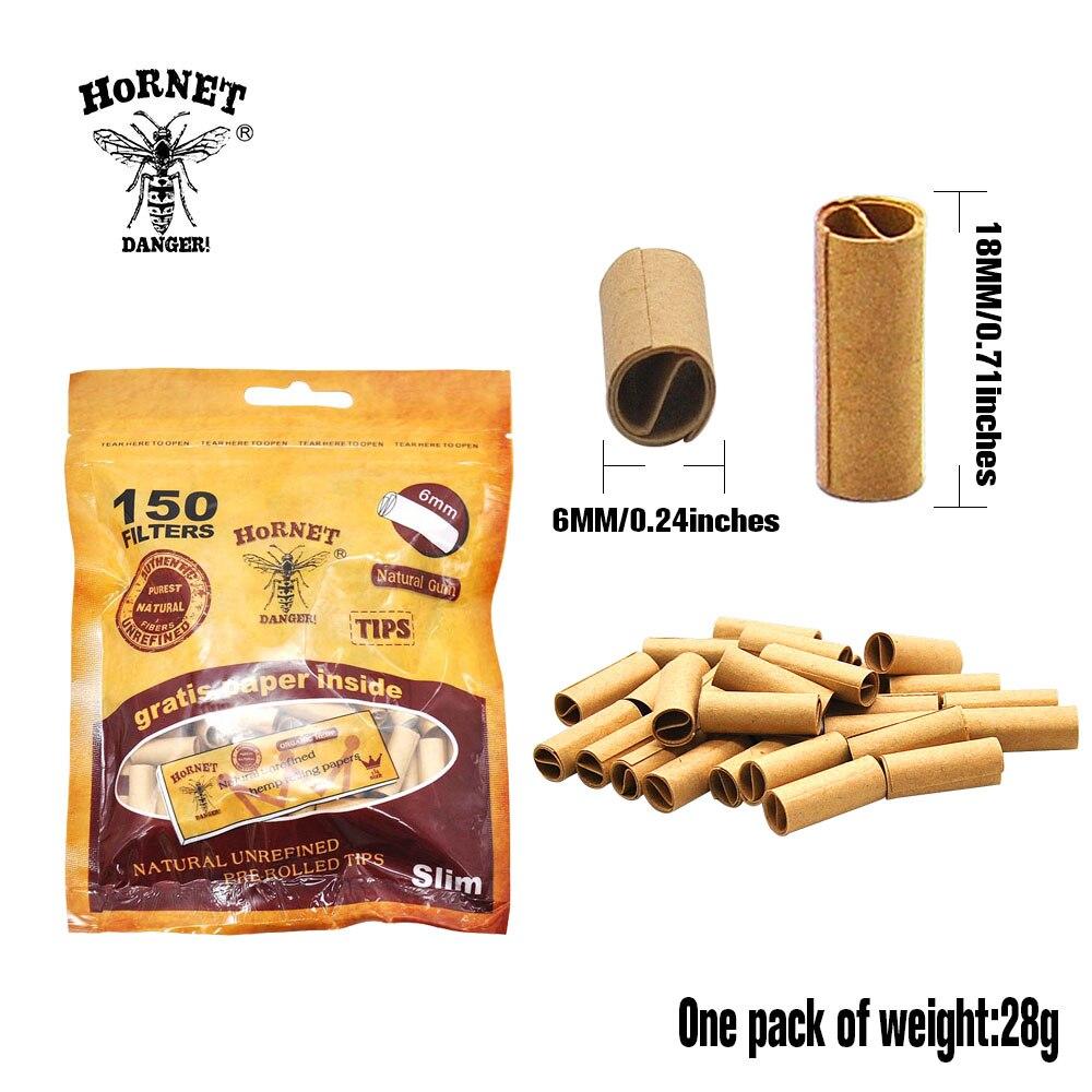 HORNET DANGER 150 x Per Rolled Filter Tips Paper Natural Gum Slim Rolled Natural Unrefined Smoke Cigarette Filter Rolling Tips 3