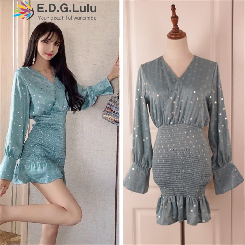 EDGLuLu 2019 fall blue female korean mini <font><b>dress</b></font> V-neck polka dot women ruffle <font><b>dress</b></font> vintage chic sexy elegant ruched <font><b>dresses</b></font> image