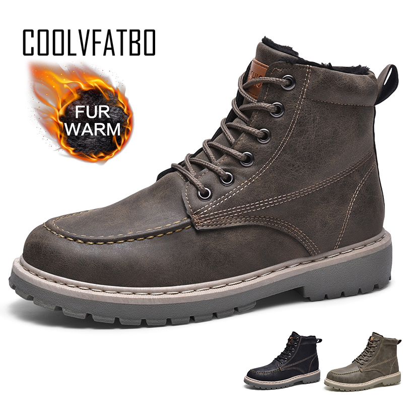 COOLVFATBO Winter Shoes Men Boots Warm Fur Snow Boots Men Shoes High-top Shoes Male Shoes Adult Mens Winter Footwear Boots Men