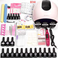 36w/48w/80w Led Uv Nail Lamp Choose 12 Color Gel Nail Polish Varnish Acrylic Kit Electric Nail Drill Machine for Manicure Set