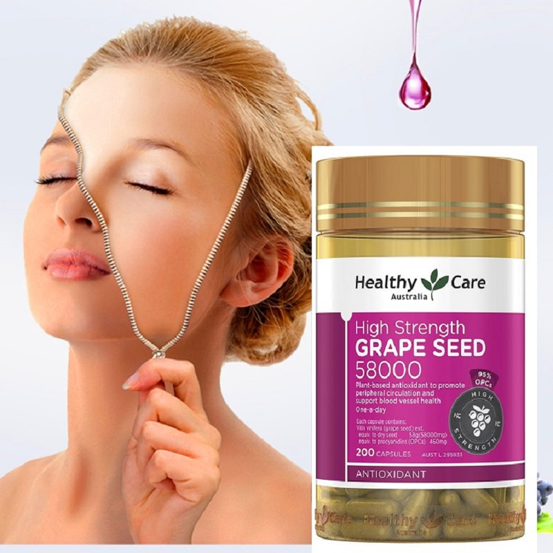 Healthy Care Grape Seed Extract 58000 200Caps Women Beauty Skin Care Capillaries Health Antioxidant Against free radical damage