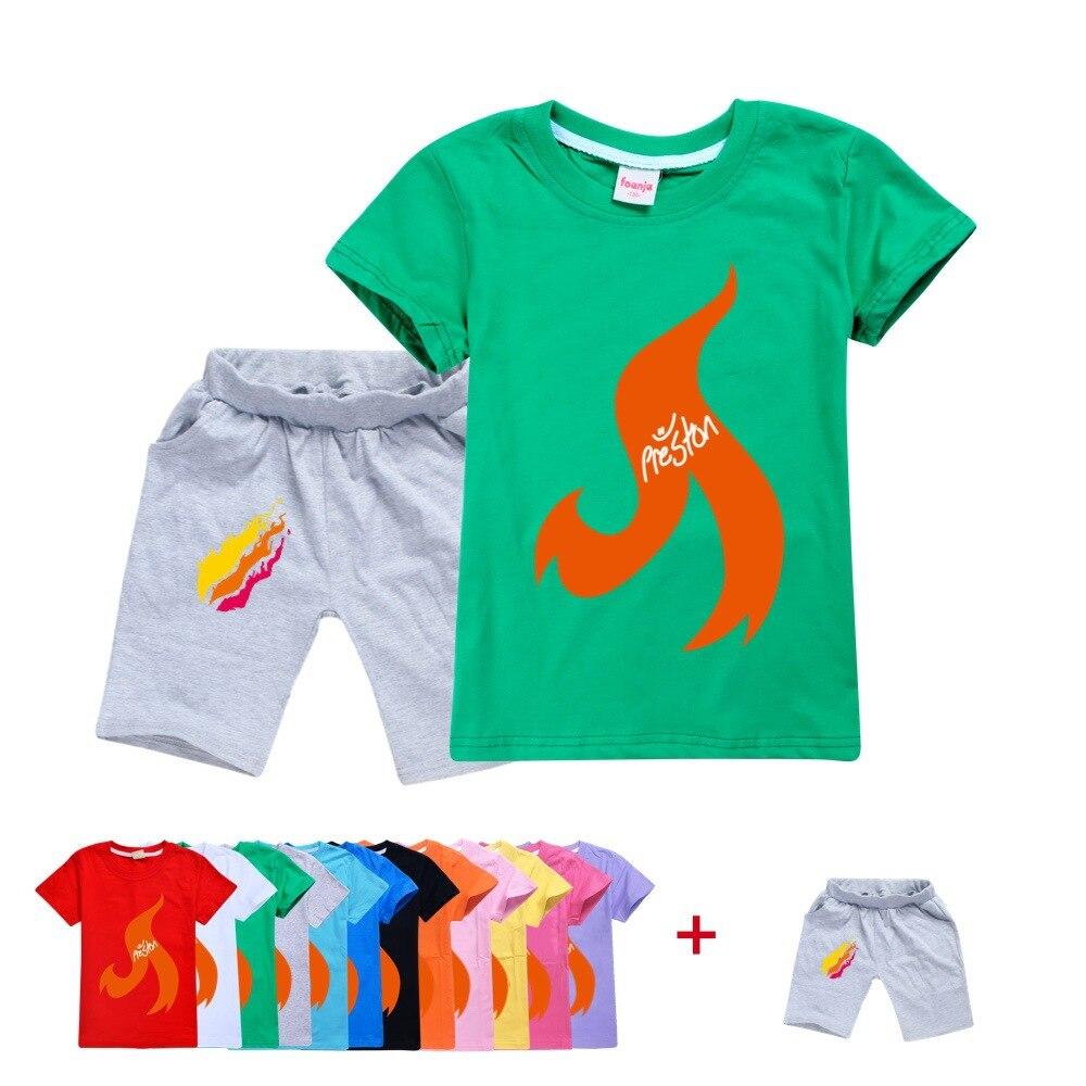 Prestonplayz Cotton Summer Casual Shirt Boys And Girls Short-Sleeved T-shirt