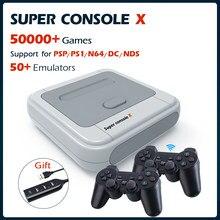 Super console x consolas de jogos de vídeo wifi 4k hd mini tv retro jogador de jogo para ps1/dc/n64/nds com 50 + emuladores 50000 + jogos