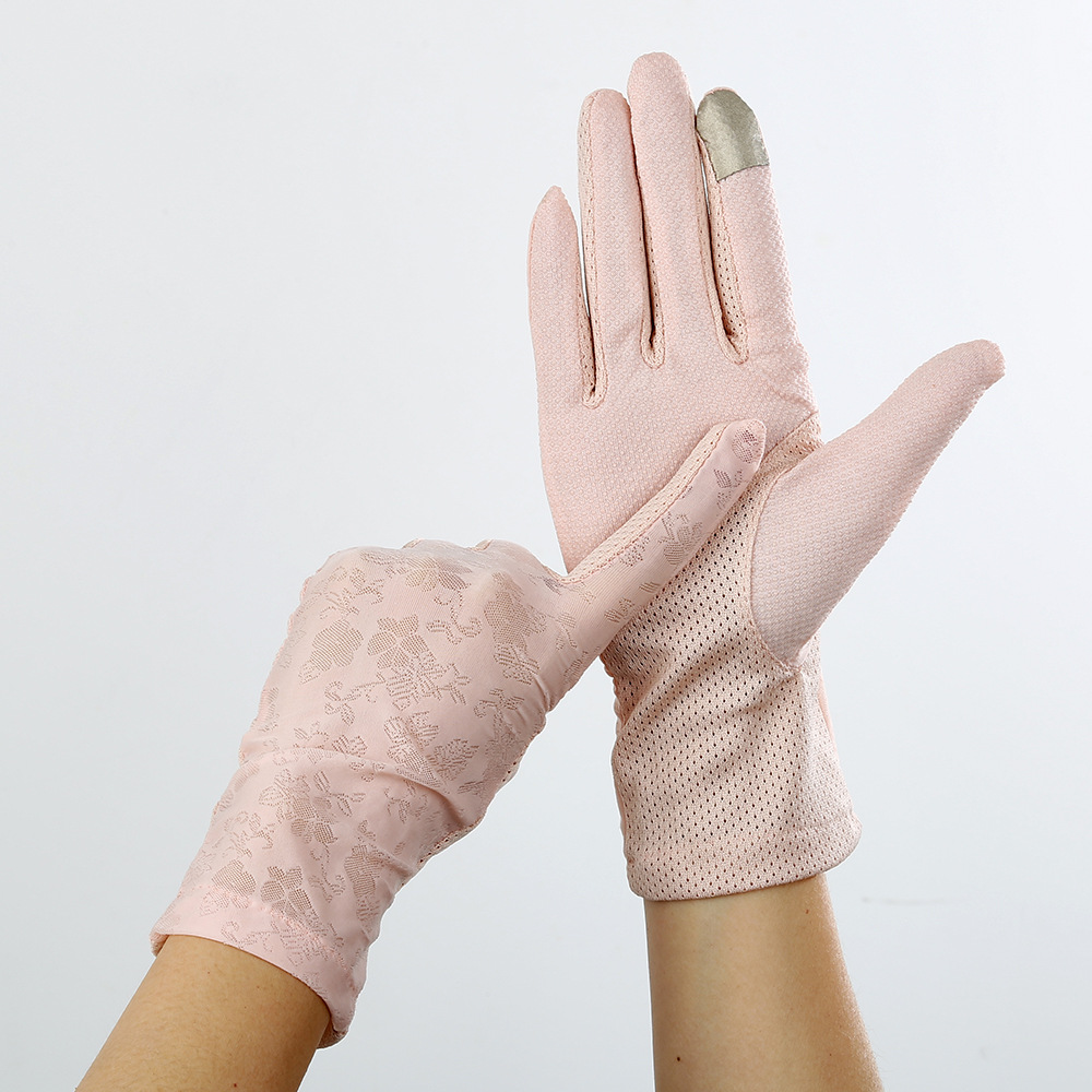 Summer Outdoor Sunscreen Ice Silk Breathable Finger Gloves Spot Non-slip Touch Screen Ladies Gloves