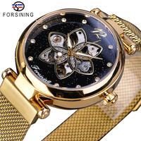 Forsining nova chegada mehanical womens assista topo marca de luxo diamante ouro malha à prova dwaterproof água relógio feminino moda senhoras relógios|Relógios femininos| |  -