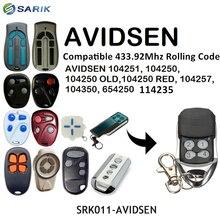 AVIDSEN Controle Remoto Rolling code 433mhz Compatível 104251, 104250, 104250 ANOS, 104250 VERMELHO, 104257, 104350