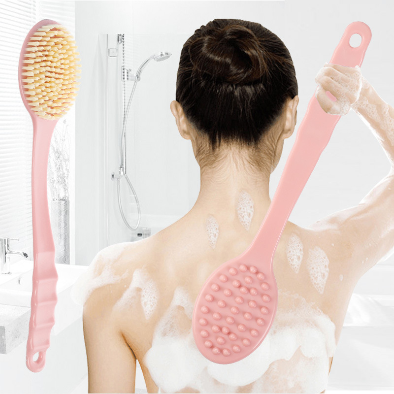 Bath Brush Long Handle Shower Brush Exfoliating Body Massage Soft Bristle Taking Shower Brush Skin Care Body Brush Cleaning Tool