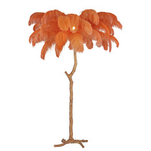 Pure Copper Bedside Designer Design Standing Lamps Decorative Light Floor Lamp With Colorful Feathers Design Modern Lamp