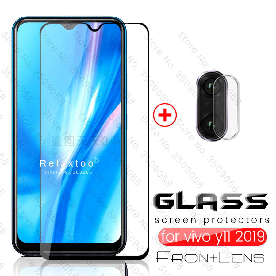 2-in-1 Full Cover Screen Protector For Vivo Y11 2019 Camera Lens  Protective Glass For Vivo Y11 Vivo Y 11 Y 11 Safety Armor Film