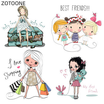 ZOTOONE Cartoon Shopping Girls Patches Iron on Heat Transfer for Clothes DIY Applique Patch for Kids Ironing Vinyl Stickers H image