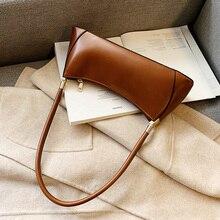 Fashion Solid Color Leather Shoulder Bags For Women Vintage Designer Underarm Bags Casual Shoulder Bag Lady Elegant Handbags elegant chains and solid color design shoulder bag for women