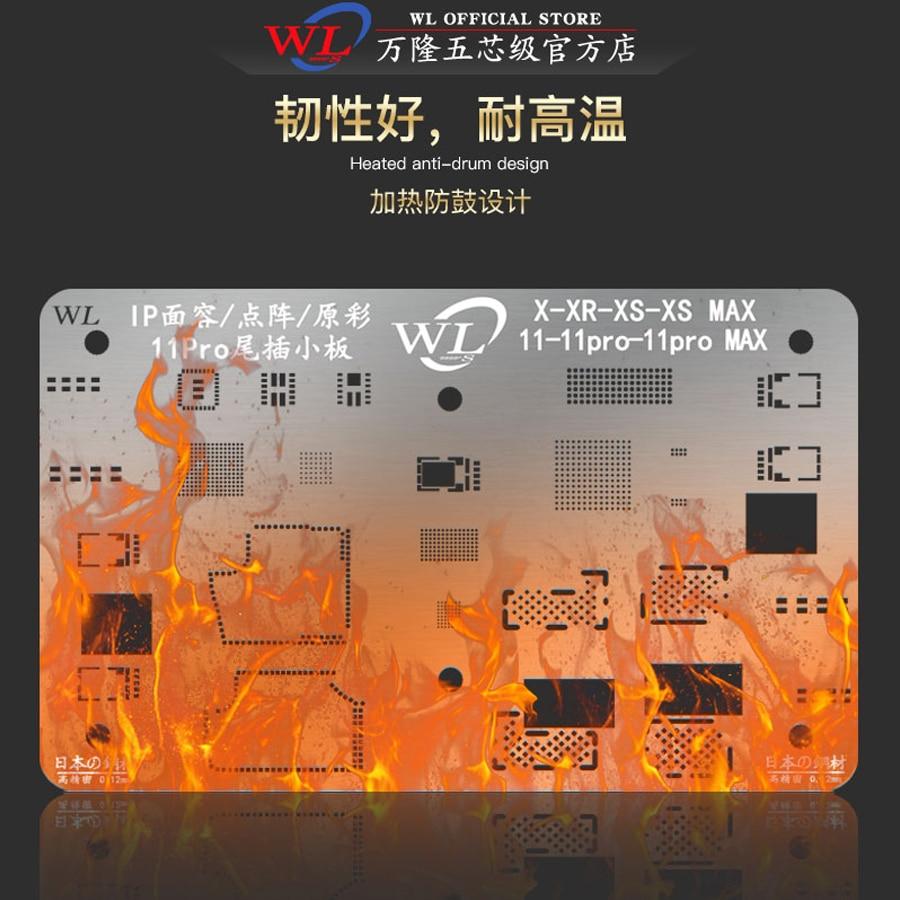 WL BGA Reballing Stencil Tin Planting Steel Mesh for iPhone X-11Pro max Face ID/Dot Matrix/Original Color/Tail Plug Small Plate 6