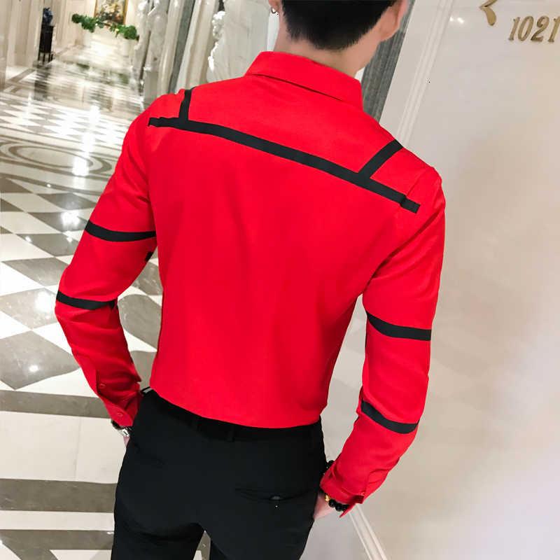 コントラスト波状ストライプシャツ黒、白、赤シャツ男性スリムフィット Desinger ファンシー男性シャツシュミーズオムクラブパーティー衣装