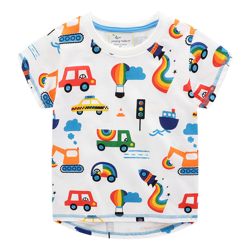 Jumping meters New 2020 Cartoon Boys Girls Tees for Summer 100% Cotton Baby Clothing Short Sleeve T shirts Cute Rockets Print 4
