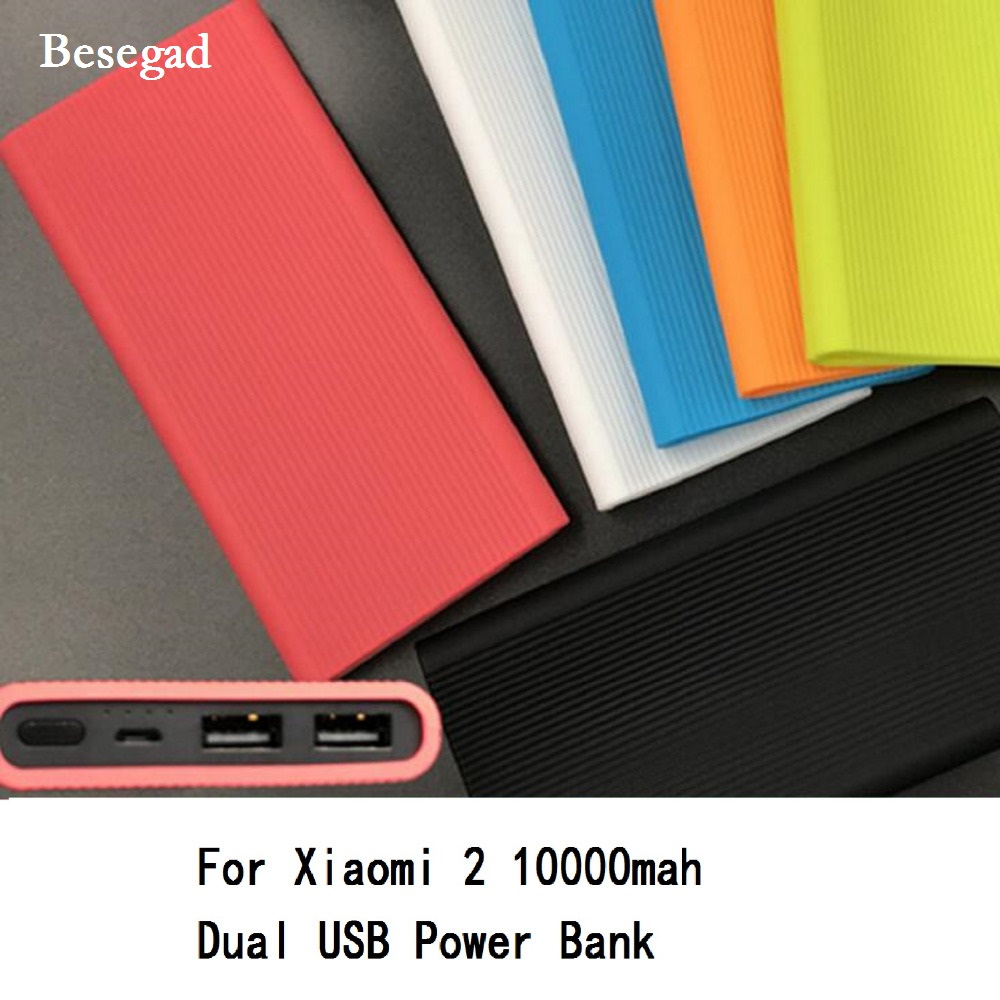 Besegad Silicone Protector Case Cover Skin Shell Sleeve for New <font><b>Xiaomi</b></font> Xiao <font><b>Mi</b></font> Xiami <font><b>2</b></font> 10000mAh Dual USB <font><b>Power</b></font> <font><b>Bank</b></font> Powerbank image