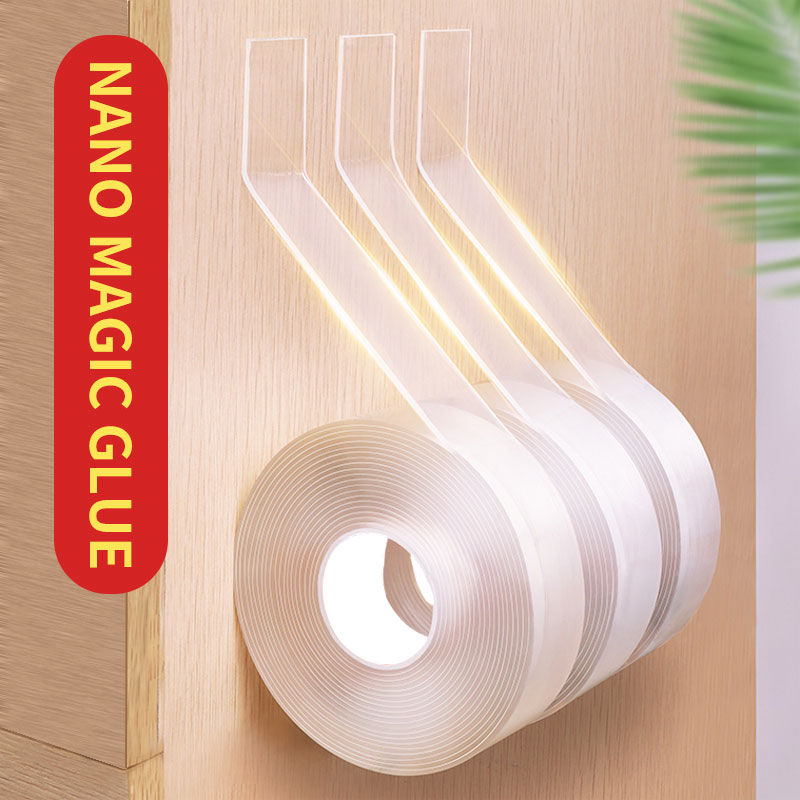 1/2/3/5M Nano Magic Tape Double Sided Tape Transparent No Trace Reusable Waterproof Adhesive Tape Cleanable Home For Bathroom