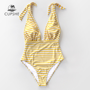 Image 4 - CUPSHE Stripe Print Deep V neck One Piece Swimsuit Women Sexy Backless Bow knot Monokini 2020 Girls Beach Bathing Suit Swimwear
