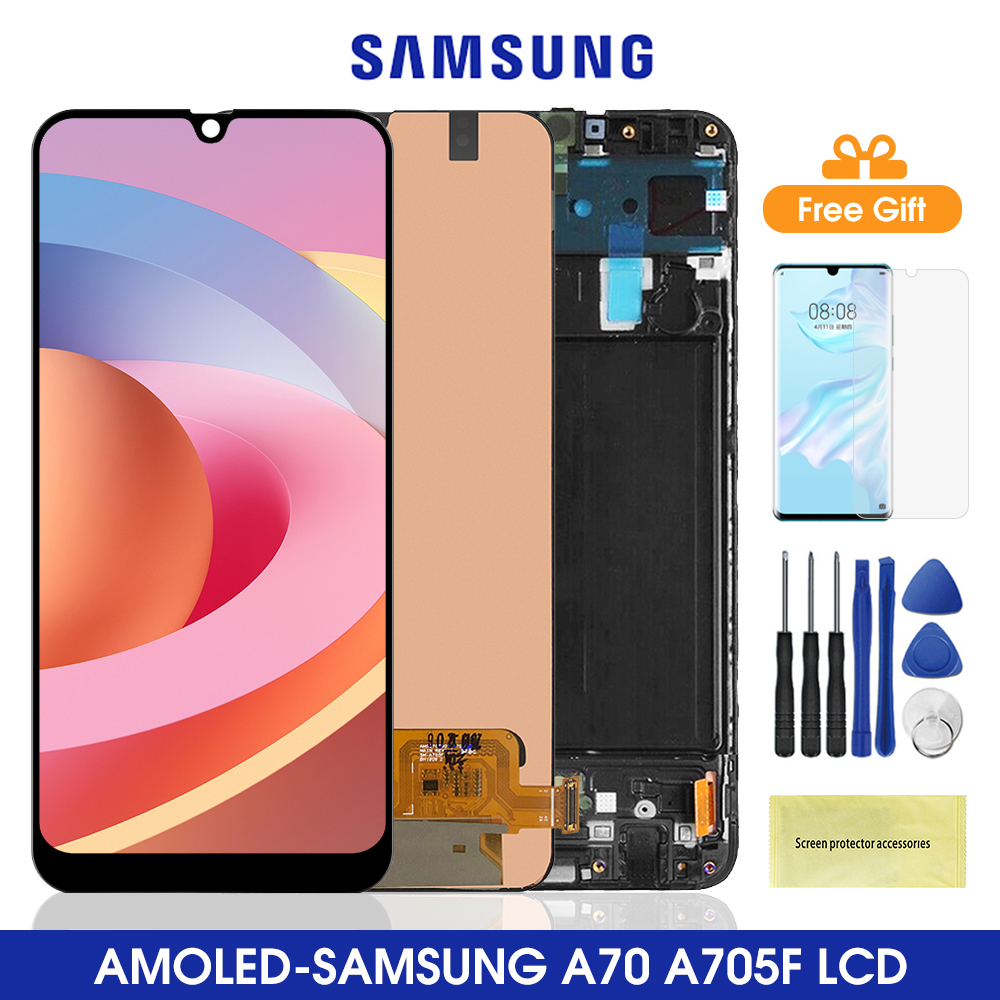 6.7'' AMOLED A705 <font><b>Lcd</b></font> For <font><b>Samsung</b></font> <font><b>Galaxy</b></font> <font><b>A70</b></font> <font><b>LCD</b></font> Display Touch Screen Digitizer Assembly For <font><b>Samsung</b></font> A705 A705F A705FD Lcds image