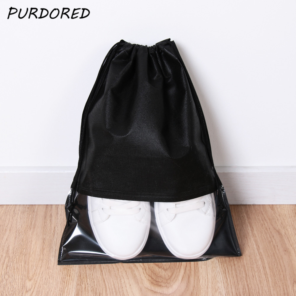 PURDORED 5 Pcs/set Portable Waterproof Shoes Bag Travel Shoe Storage Bag Organize Tote  Dustproof Drawstring Organizer Bag