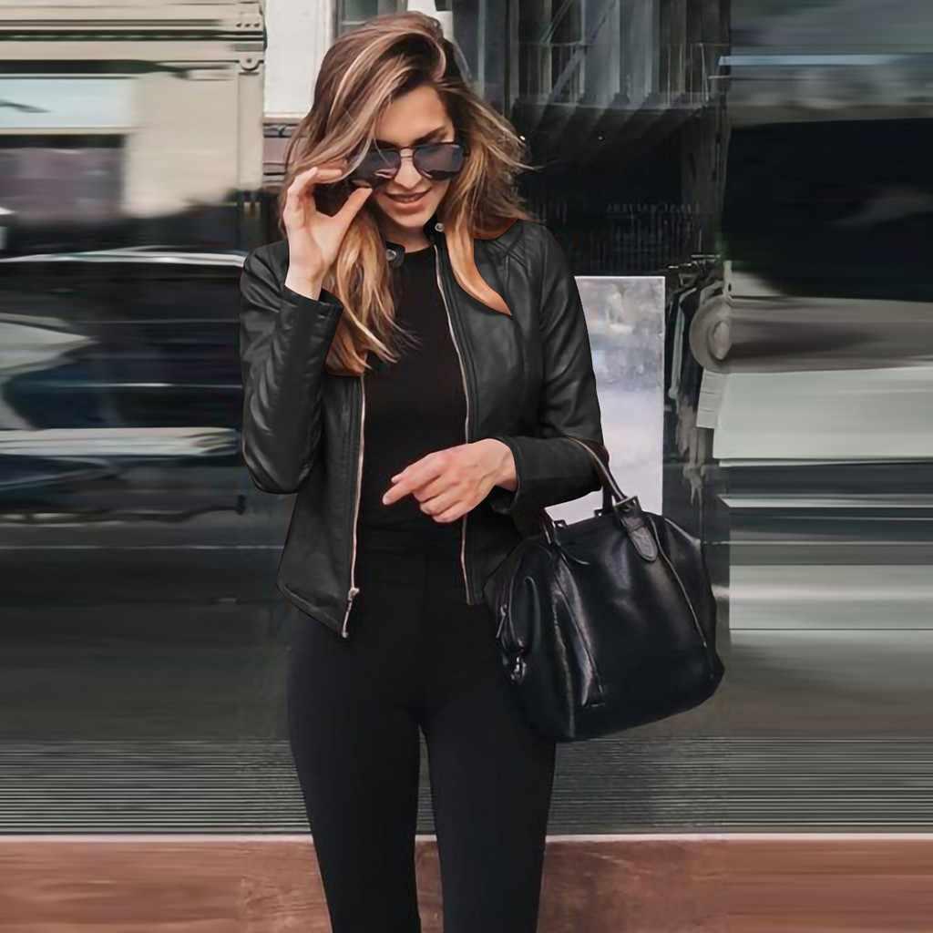 2019 neue Frauen Frühling Herbst Pu Leder Jacke Beiläufige Dünne Weiche Moto Biker Faux Leder Jacke Weibliche Mantel Grund Streetwear # J30