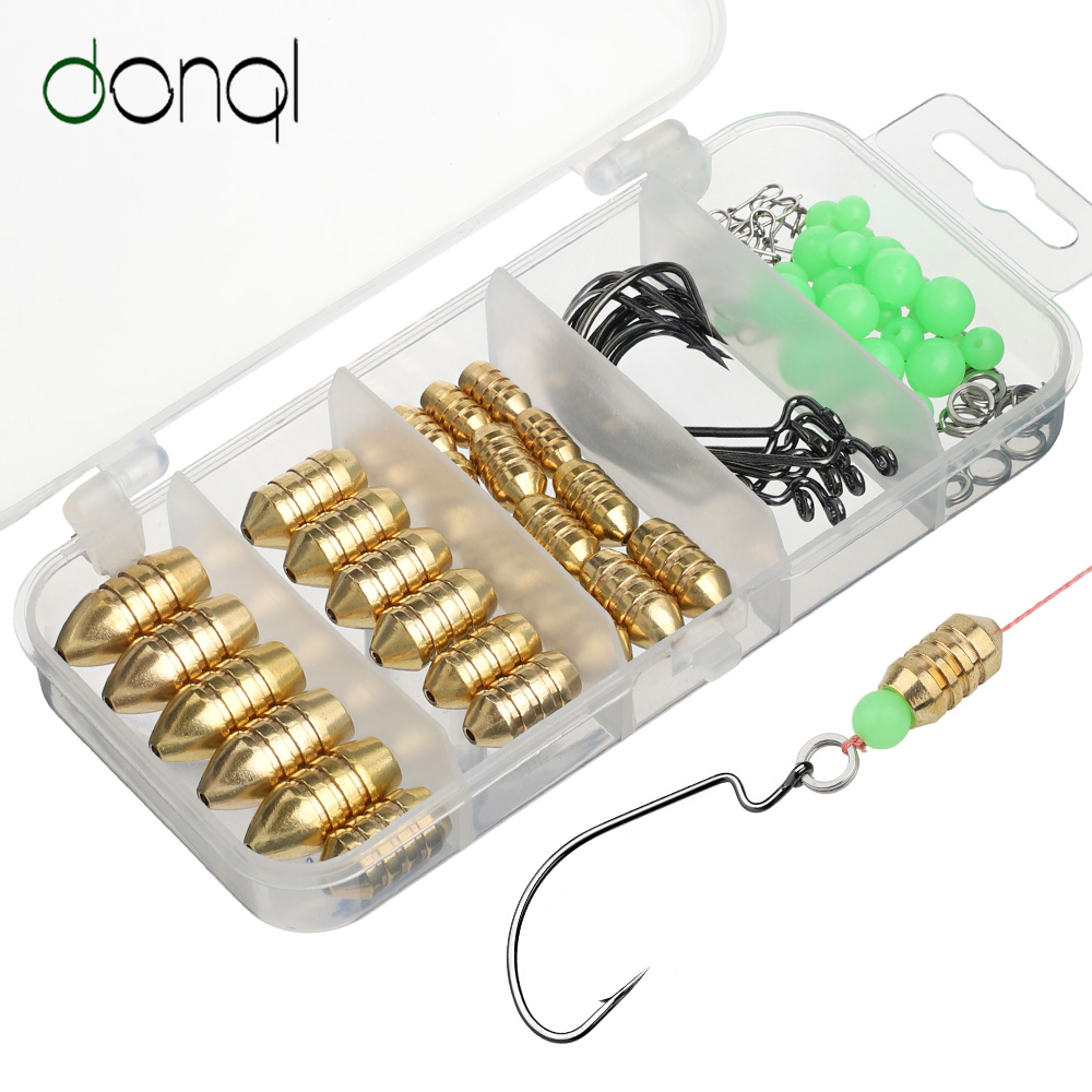 DONQL Fishing Lead Sinker Mixed Size Set Copper Alloy Bullet Shaped 1.8g-10g With Fluorescent Bead Fishing Hook Accessories Kits