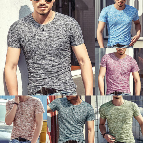 Men Cotton Summer Soft T Shirt Tee Slim Fit O-Neck Short Sleeve Muscle Casual Arrival Tops T-Shirts Gym Clothes