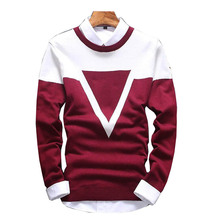 Mens Sweaters Pullovers Slim-Fit O-Neck Warm Knittwear Thick Striped Winter New-Arrivals