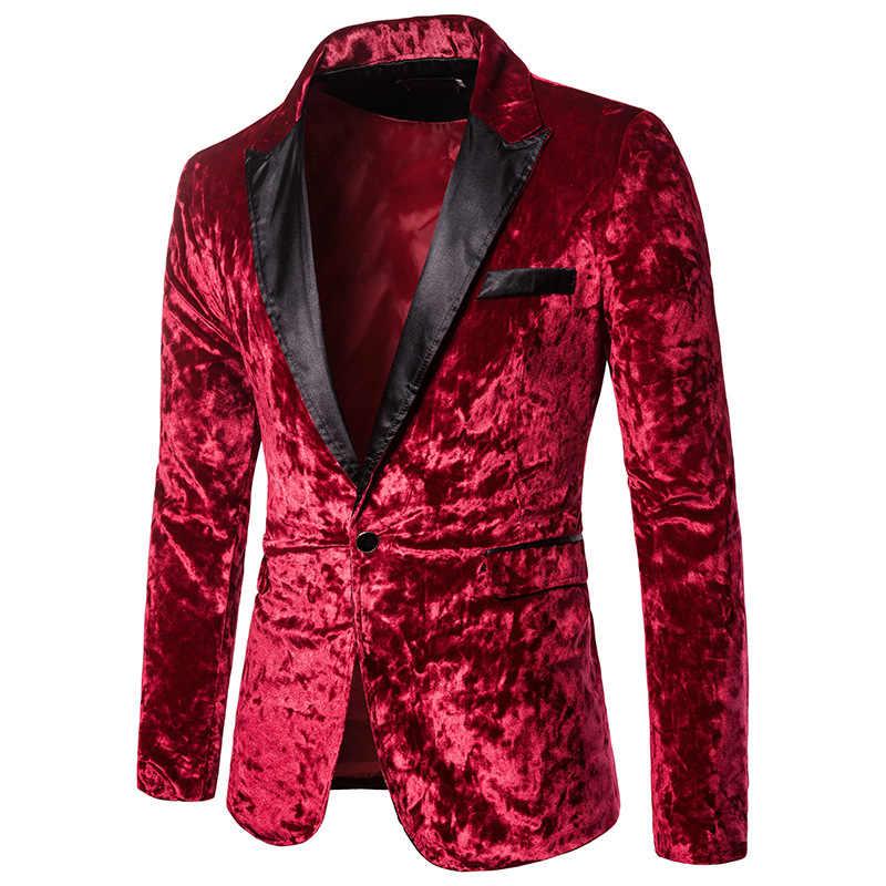 Laamei 男性の秋冬ベルベットワイン赤ファッションレジャースーツジャケット結婚式新郎スリムフィット Hombre Masculino ブレザー