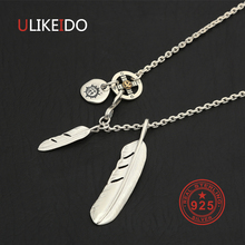 Solid 925 Sterling Silver Feather Necklace For Men Vintage Charms Takahashi Eagle Pendant Eagle Chain New Popular Jewelry P20