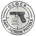 Sinais redondos do vintage chique shabby glock seguro-pistolas de acnon placa de metal placa pub parede arte metal sinal 30 cm
