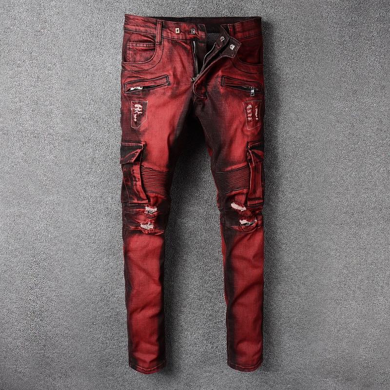 Fashion Streetwear Men Jeans Red Color Slim Fit Elastic Spliced Ripped Jeans Men Big Pocket Denim Cargo Pants Biker Jeans Homme