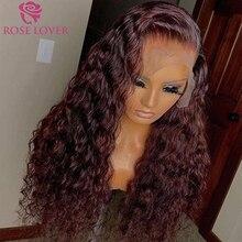 Вьющиеся бордовые 99J парики на сетке спереди, прозрачные парики из человеческих волос с глубокой волной, бразильские парики с выщипываемыми...