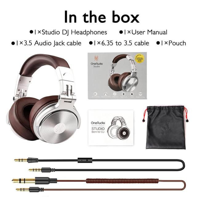 Oneodio Professional Studio DJ Headphones With Microphone Over Ear Wired HiFi Monitors Headset Foldable Gaming Earphone For PC 6