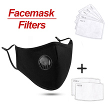 In stock Cotton Face Mask Respirator Washable Reusable Mouth Masks + 20Pcs Activated Carbon Filter PM2.5 for Men Women