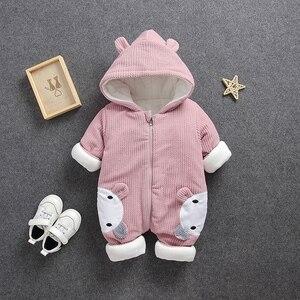 Image 2 - Soğuk kış Bebek Erkek kız rahat kapşonlu giyim seti tulum yenidoğan bebek erkek kız elbise kıyafetler kalın setleri tulum
