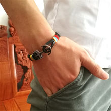 Simple Woven Leather Bracelet For Men Stainless Steel Combination Men's Handmade Leather Bracelet Black Male Jewelry Gift(China)