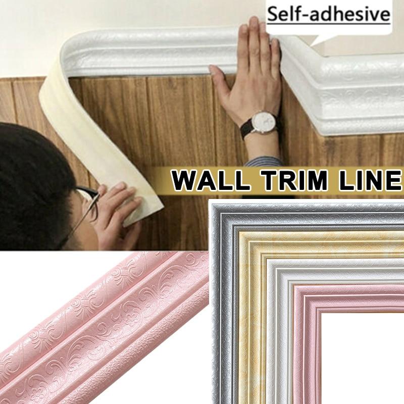 Wall Trim Line Skirting Border 3D Pattern Sticker Decor Self Adhesive Waterproof Strip-30