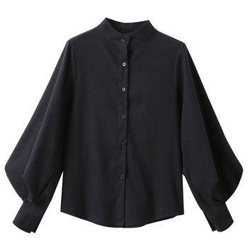 Big Lantern Sleeve Blouse Women Autumn Winter Single Breasted Stand Collar Shirts Office Work Blouse Solid Vintage Blouse Shirts 3
