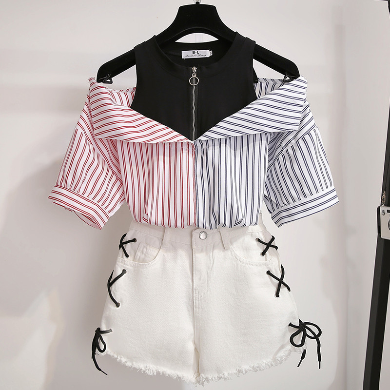 2 Pieces Shorts Sets Girl Summer Sweet Korean Off Shoulder Tops And Shorts 2 Pieces Sets Women Clothing Two Pieces Outfits